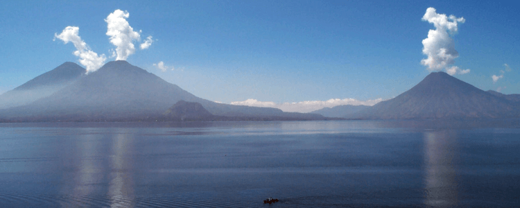 View of active volcanoes on Guatemala's Lake Attitlan